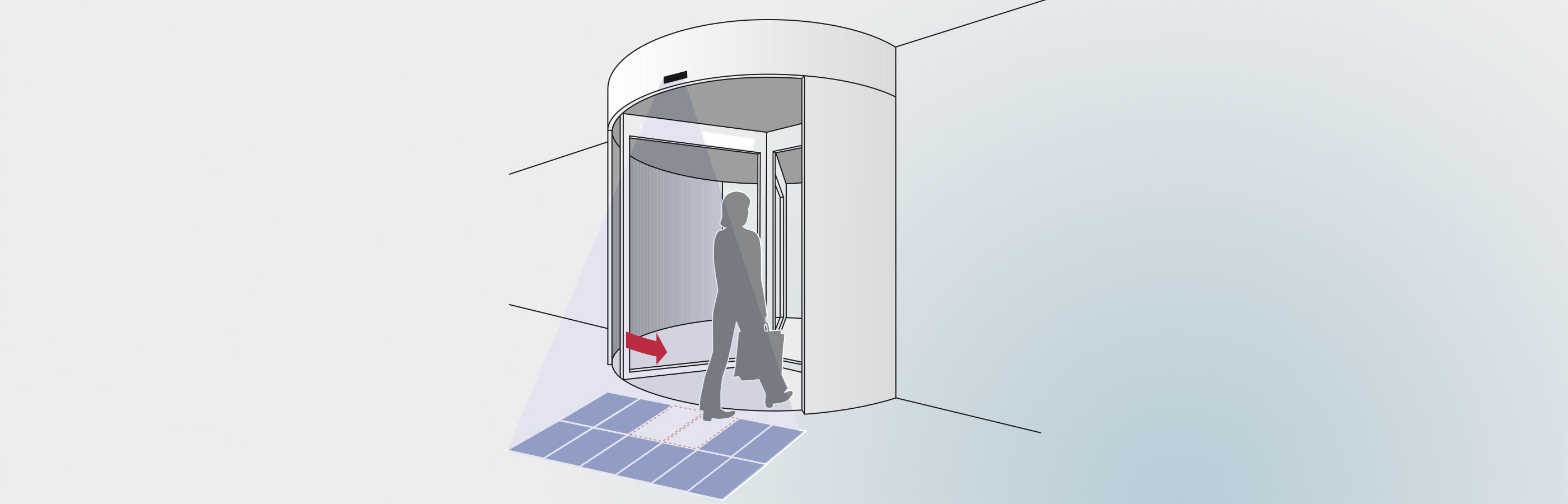 PIR 20 passive infrared motion detector activates a revolving door