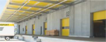 Sectional doors on the loading ramp of a logistics centre