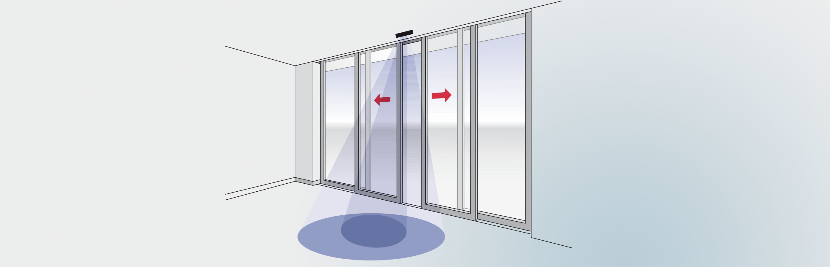 RK 30 microwave motion detector on a sliding door