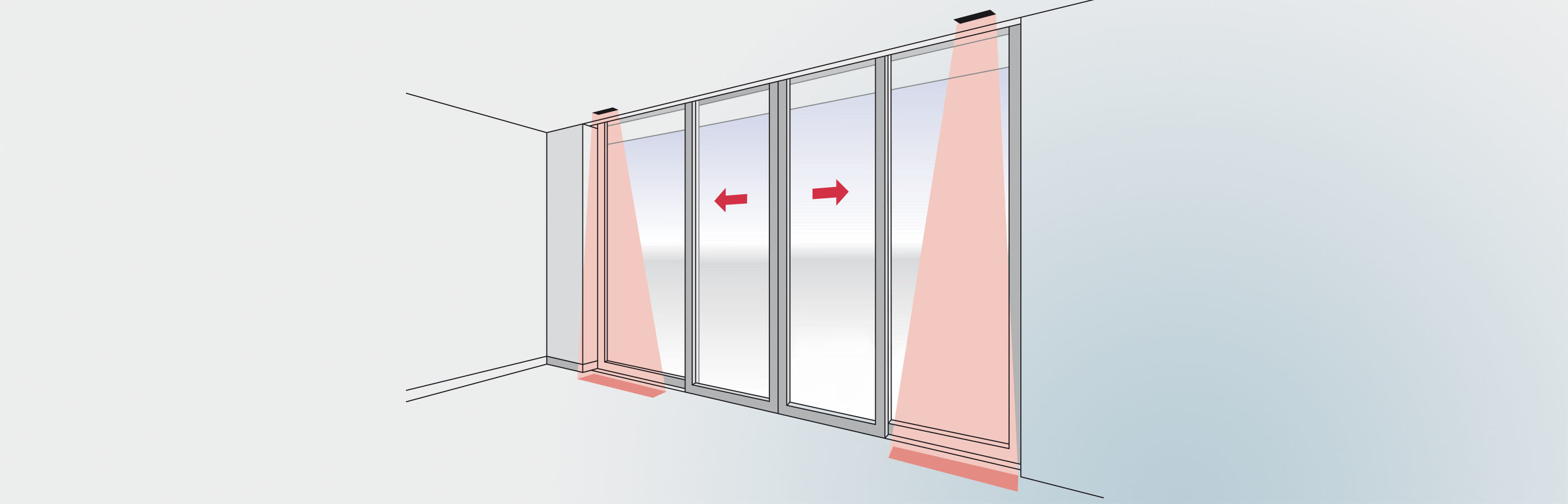 PrimeScan active infrared presence detector on the secondary closing edge of a sliding door