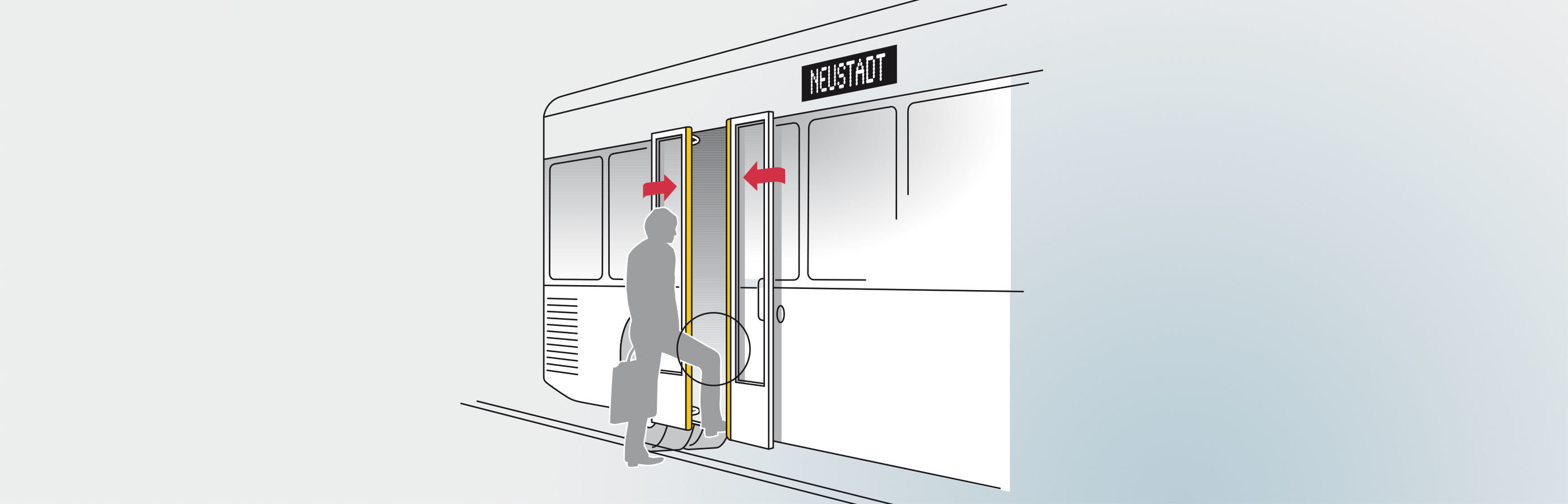 Pressure wave switch secure the entrance in public transport vehicles