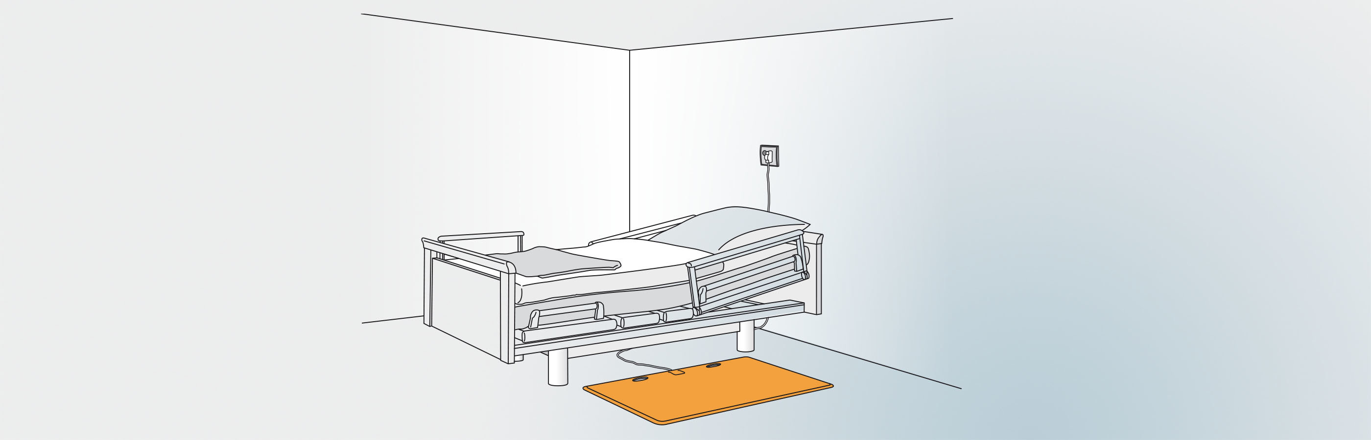 CareMat safety pressure mat in front of a patient's bed