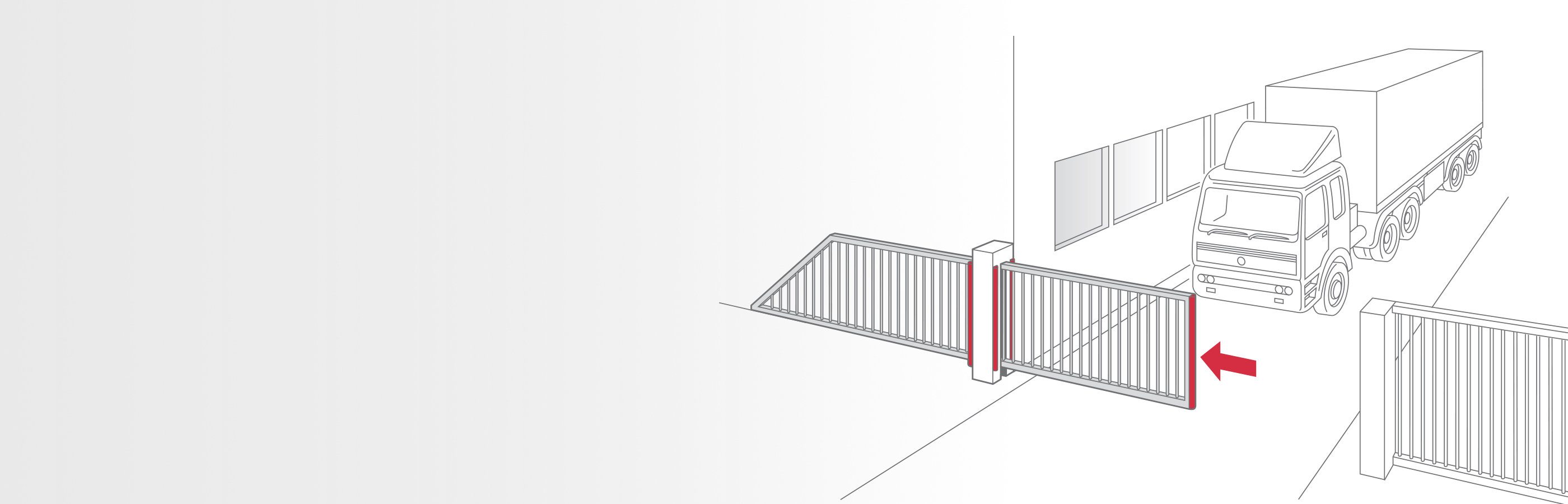 Line drawing of access gate with a passing lorry